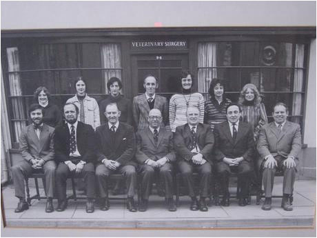 An old photo of Highcliff's veterinary staff